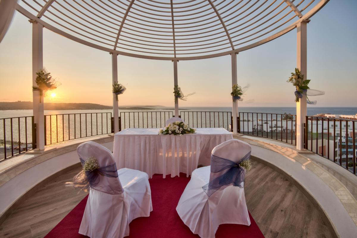 Wedding Ceremony Set up Terrace Venue with front sea view